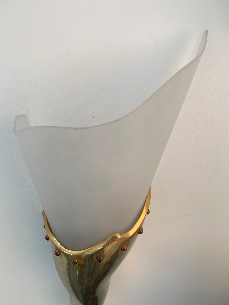 French Brass Sconce by Maison Lucien Gau, France, 1980s For Sale