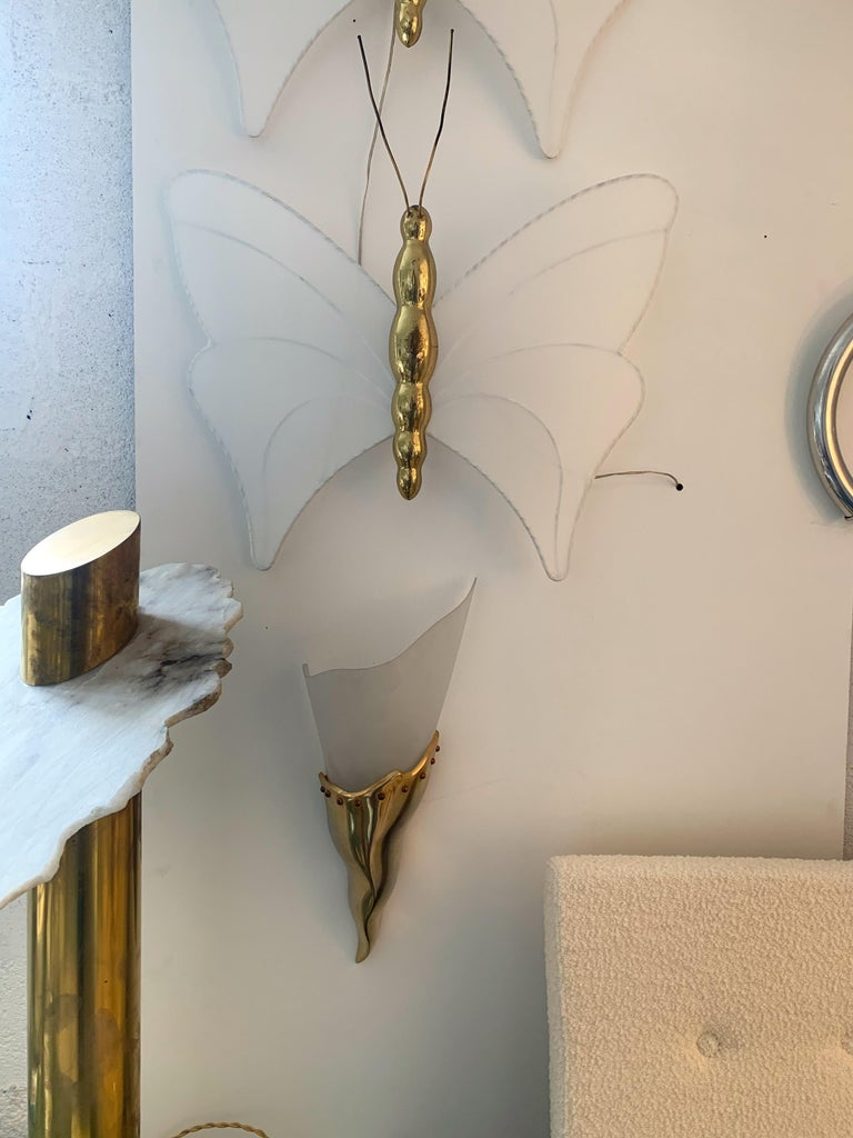 Brass Sconce by Maison Lucien Gau, France, 1980s In Good Condition For Sale In SAINT-OUEN, FR