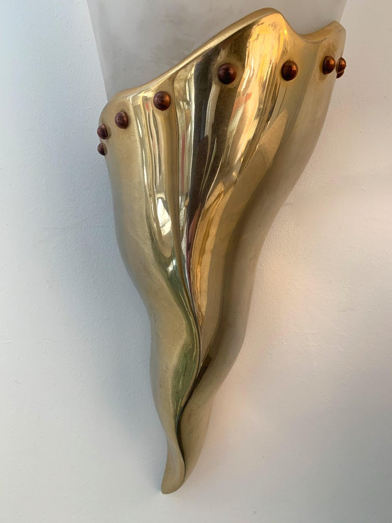 Late 20th Century Brass Sconce by Maison Lucien Gau, France, 1980s For Sale