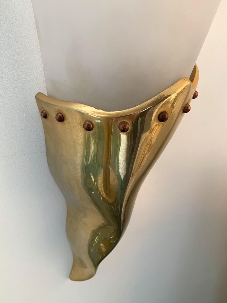 Brass Sconce by Maison Lucien Gau, France, 1980s For Sale 2