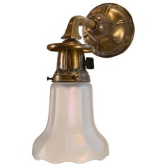 Brass Sconce Pair with Nuart Glass Shades