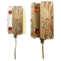 Brass Sconces 'Pair' with Pressed Glass and Brass by Vitrika, 1970s