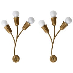 Brass Sconces Wall Lights, 1960s