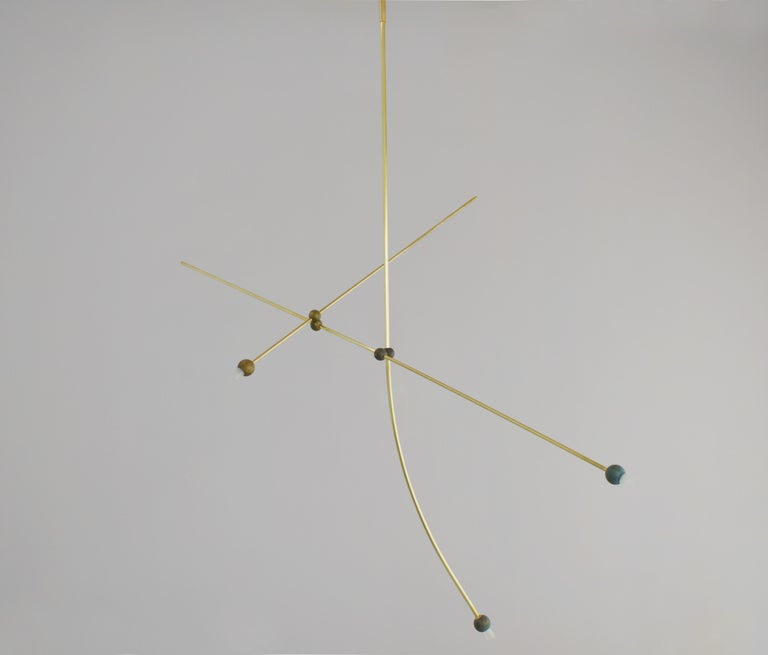 Greek Brass Sculpted Light Suspension,