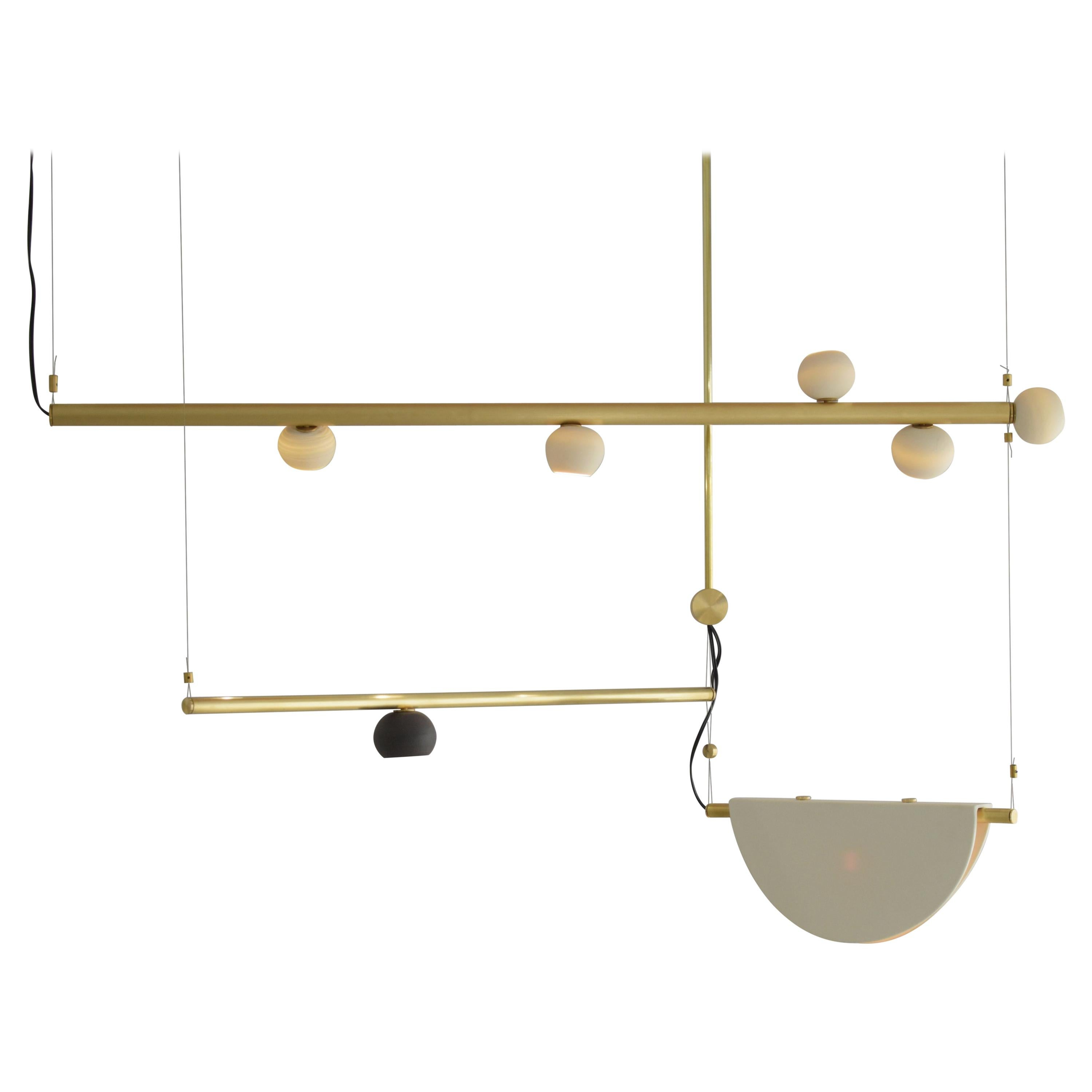Brass Sculpted Light Suspension, My Queen III, Signed Periclis Frementitis
