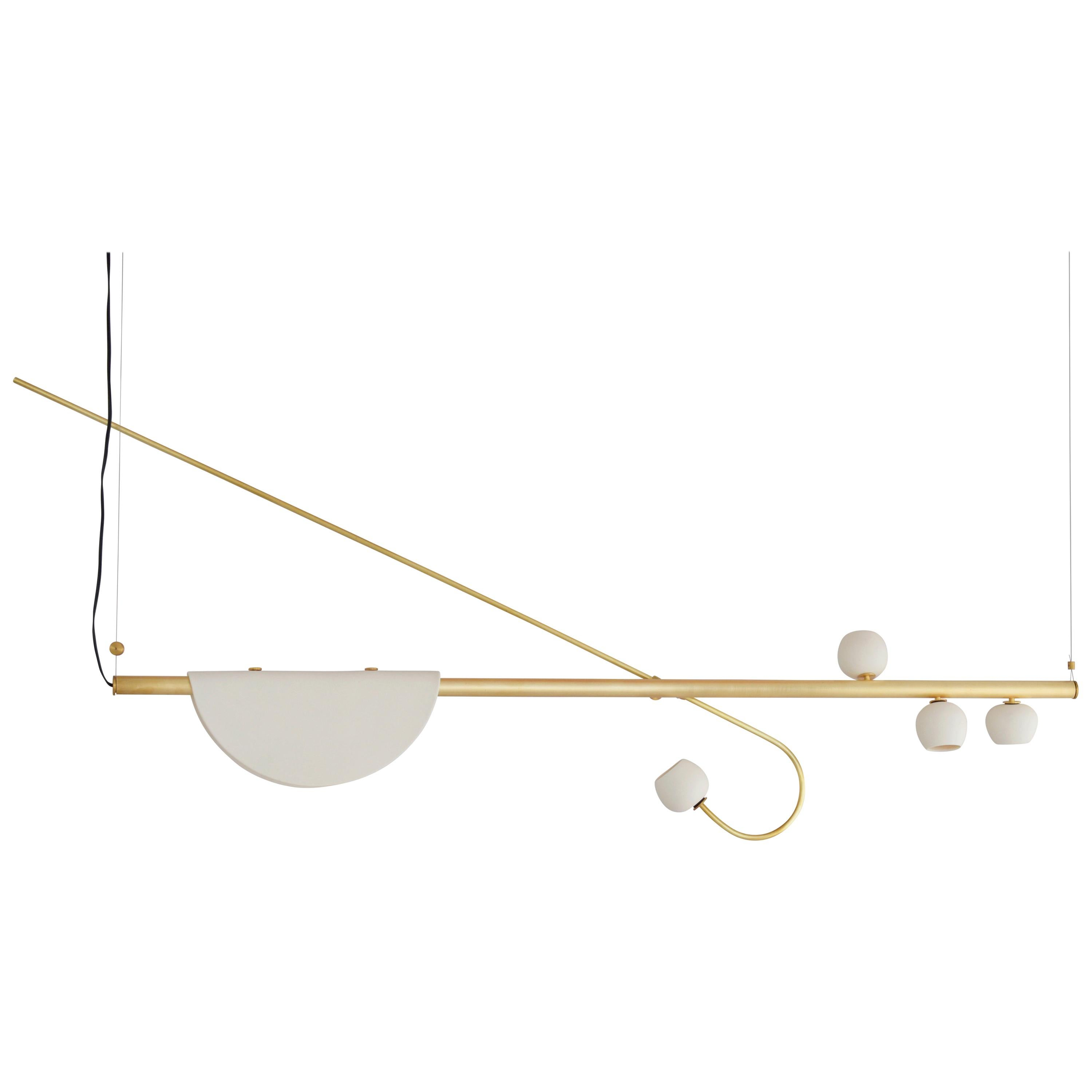 Brass Sculpted Light Suspension, My Queen IV, Signed Periclis Frementitis