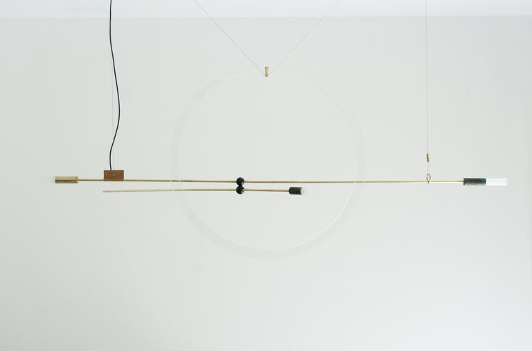 Greek Brass Sculpted Light Suspension 'Opus XI', Periclis Frementitis For Sale