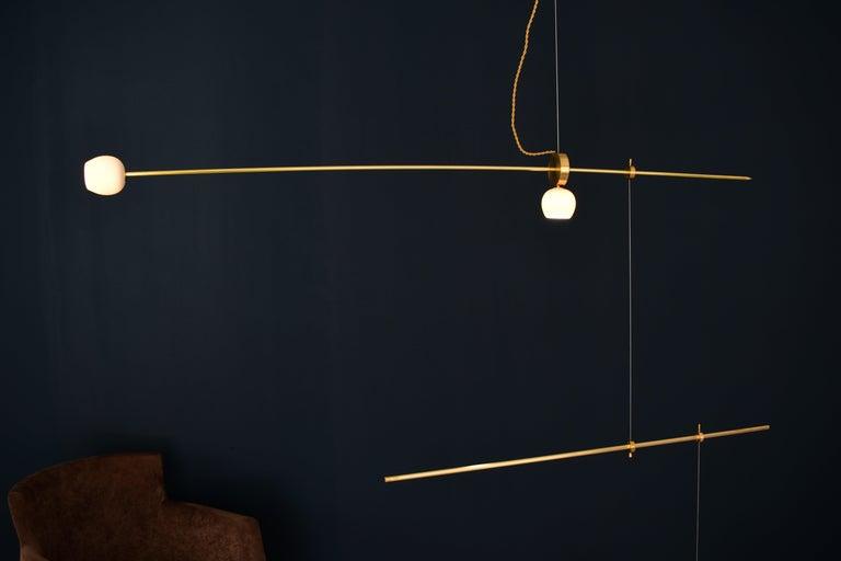 Modern Brass Sculpted Light Suspension,