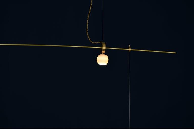 Greek Brass Sculpted Light Suspension,