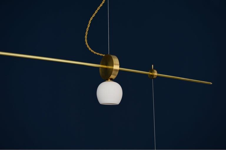 Brass Sculpted Light Suspension,