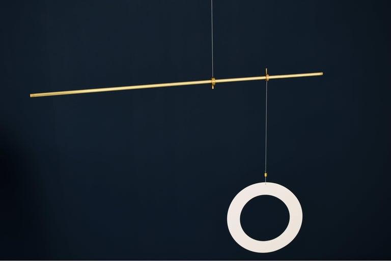 Contemporary Brass Sculpted Light Suspension,