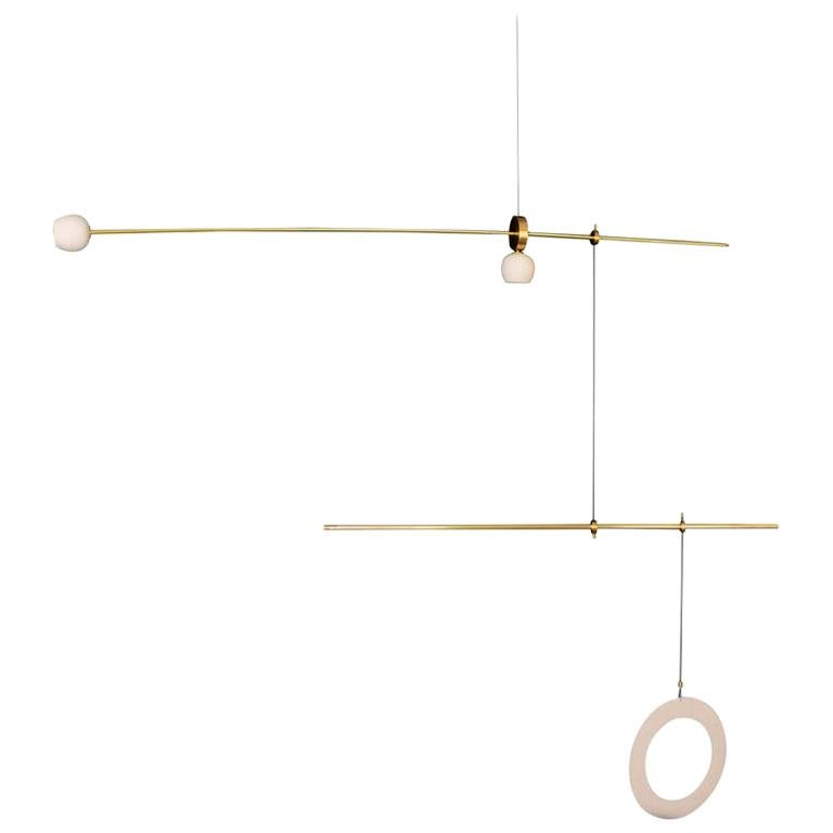 """Brass Sculpted Light Suspension, """"Pi"""" by Periclis Frementitis For Sale"""
