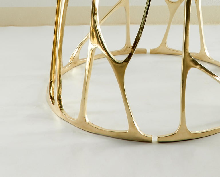 Post-Modern Brass Sculpted Round Table, Golden Roots, Misaya For Sale