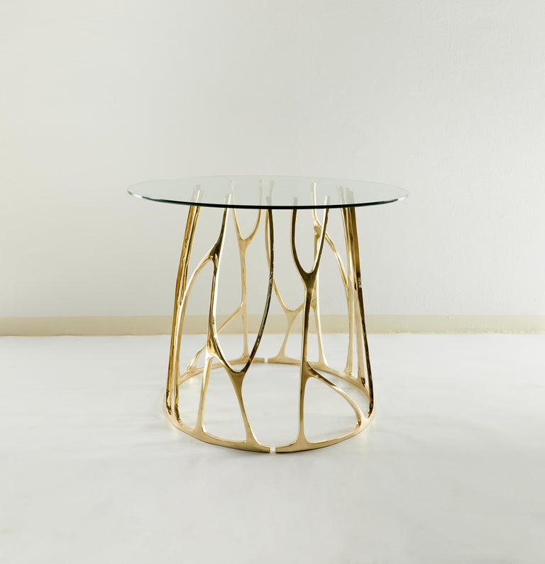 Thai Brass Sculpted Round Table, Golden Roots, Misaya For Sale
