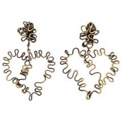 Brass Sculptural Clip On Dangle Earrings Vintage