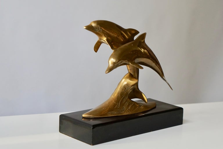 Mid-Century Modern Brass Sculpture of Dolphins For Sale