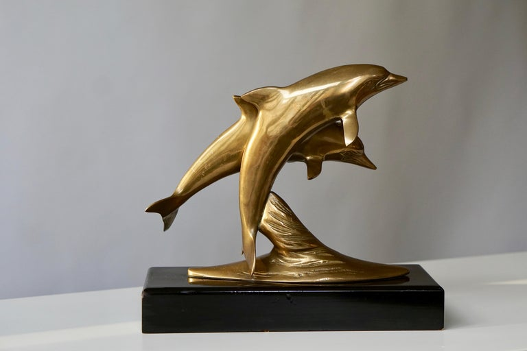 20th Century Brass Sculpture of Dolphins For Sale