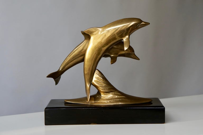 Brass Sculpture of Dolphins For Sale 2