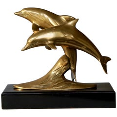 Brass Sculpture of Dolphins