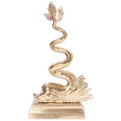 Brass Sea Serpent or Dolphin Doorstop