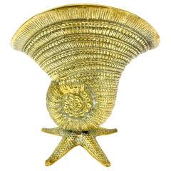 Brass Sea Shell on Star Fish Base Nautilus Planter