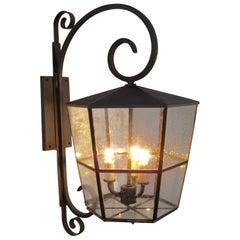 Brass Seeded Glass Exterior Lantern