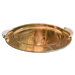 Brass Serving Tray with Bone Handles