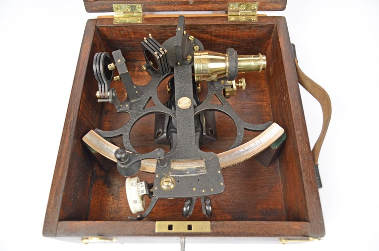 British Brass Sextant in its Original Oak Wood Box, 1940s For Sale