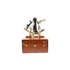 Brass Sextant in Mahogany Box Signed Buff & Buff Mfg Co Boston USA, Early 1900s