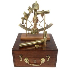 Brass Sextant Made in the Mid-19th Century in its Mahogany Box
