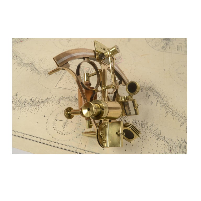 Brass Sextant Made in the Second Half of the 19th Century in Its Original Box For Sale 6