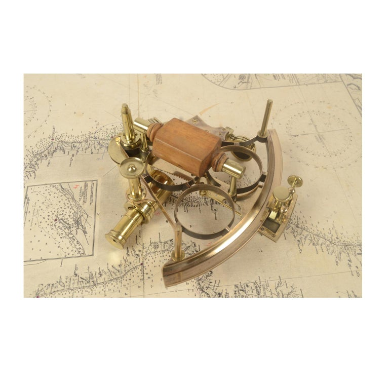 Brass Sextant Made in the Second Half of the 19th Century in Its Original Box For Sale 7