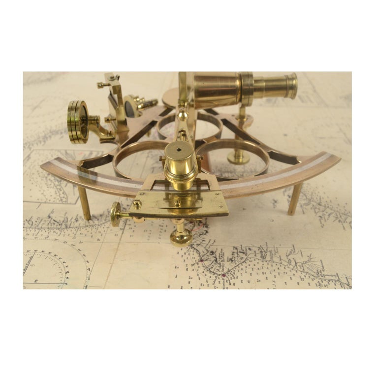 Brass Sextant Made in the Second Half of the 19th Century in Its Original Box For Sale 8