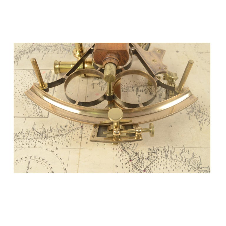 Brass Sextant Made in the Second Half of the 19th Century in Its Original Box For Sale 9