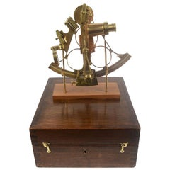 Brass Sextant Made in the Second Half of the 19th Century in Its Original Box