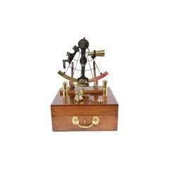 Brass Sextant Negretti Zambra Second Half of 19th Century in its Mahogany Box