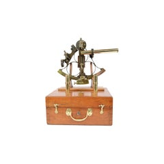 Brass Sextant Signed Bryant Biggs Cardiff 1870 in Its Original Oak Wood Box