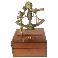 Brass Sextant with Mahogany Box Signed Henry Hughes & Son, London, Early 1900s