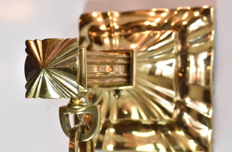 American Brass Sheffield Sconce with Shade For Sale