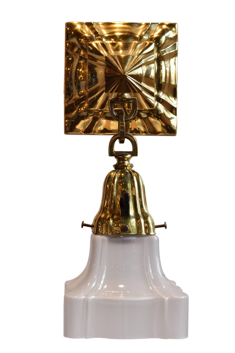 Early 20th Century Brass Sheffield Sconce with Shade For Sale