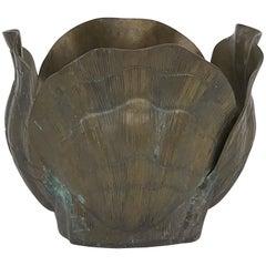 Brass Shell Planter in Verdigris Patina