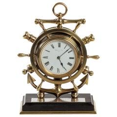 Brass Ship's Novelty Clock Presented to Captain Tynte F Hammill RN