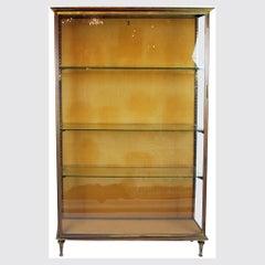 Brass Showcase, with 3 Glazed Sides