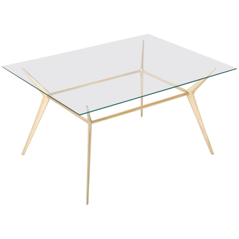 Brass Side or Coffee Table by Gino Sarffati For Sale