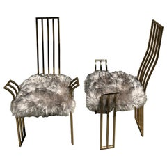 Brass Side or Game Chairs Attributed to Pierre Cardin