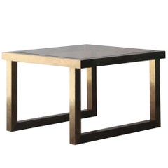 Midcentury Modern Square Brass Glass Gold Italian Side Table. Italy, 1960