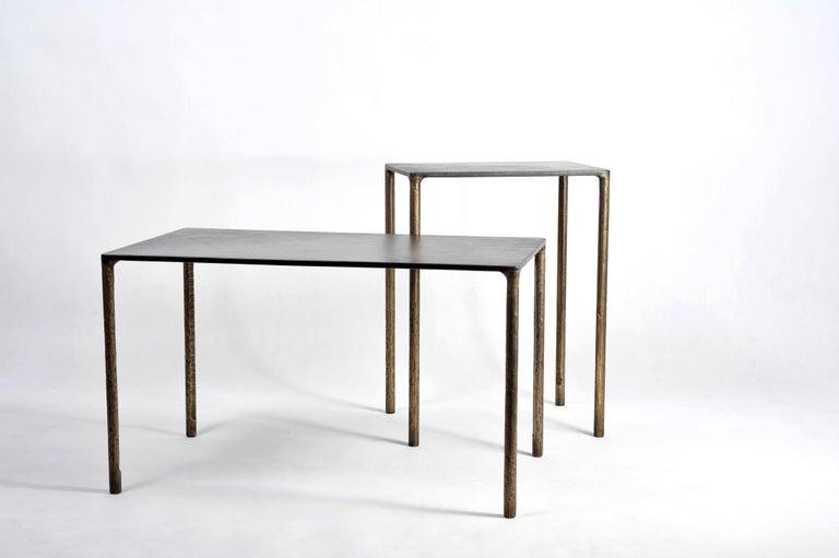 European Brass Side Table Signed by Lukasz Friedrich For Sale