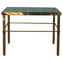 Brass Side Table with Murano Glass Mosaic Tiles, USA, 1950s