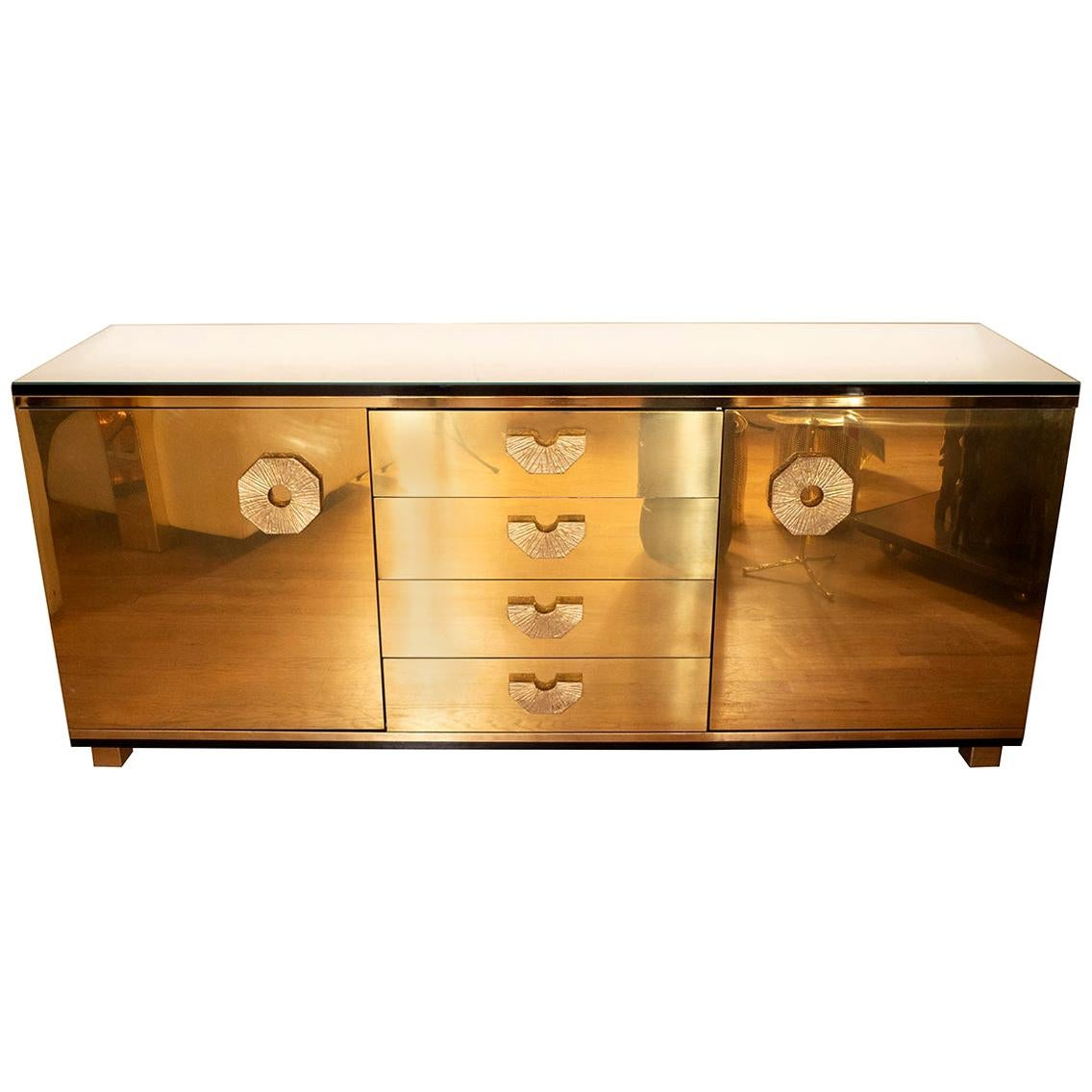 Brass Sideboard with Decorative Textured Details