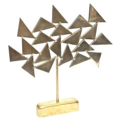 Brass Signed Chevalier Geometric Sculpture, 1960s, French